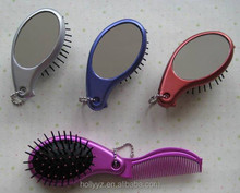OEM folding hairbrush with mirror for travel