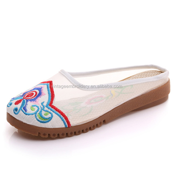 c9b1ac74a Personalized Latest Flower Embroidery Wholesale Chinese Mesh Slippers Women  outdoor casual slippers shoe. View larger image