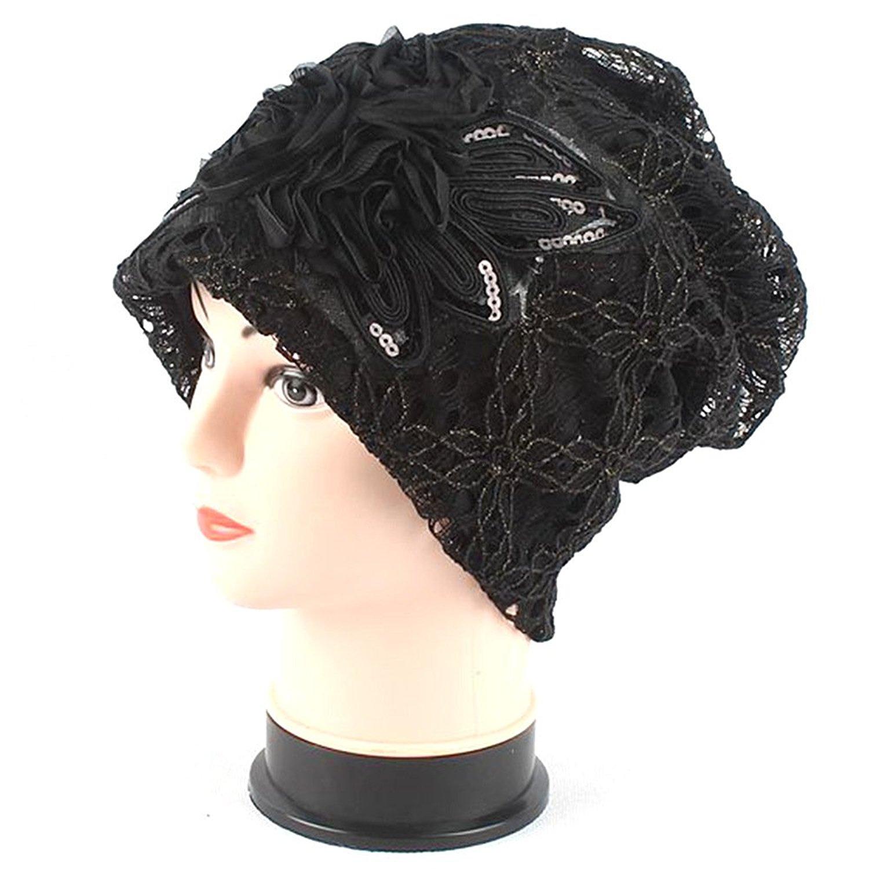 Joymee Women Ladies Lace Cap Hat Flower Turban Beanie Black Brown Grey Khaki New