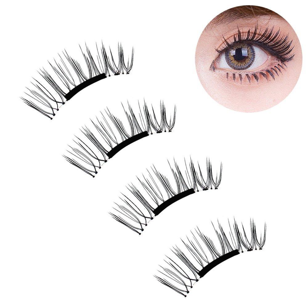 e86ab9034aa Ultrathin Magnetic Eye Lashes False Eyelashes 4 Pieces/1 Pair 3D Reusable  No Glue Magnet