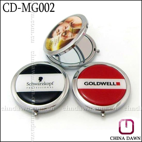 metal round promotional gift mirror with logo and epoxy dooming CD-MG042