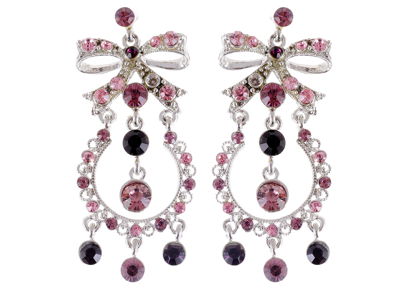 Cheap princess drop earrings find princess drop earrings deals on get quotations alilang purple pink ribbon bow crystal rhinestone princess girl chandelier drop earrings arubaitofo Choice Image