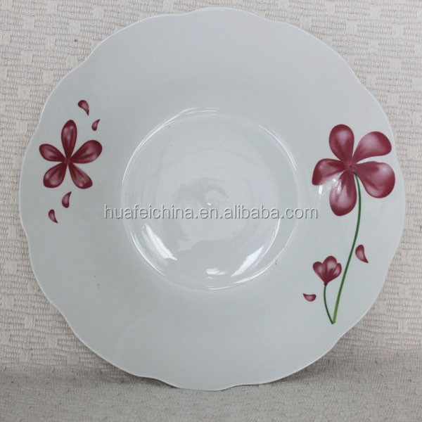white wavy deep dinner plate,hotel porcelain dinner plates, white porcelain divided dinner plates