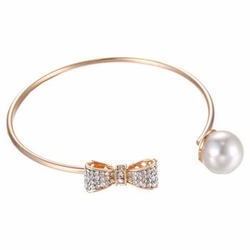 Rhinestone Bridal Bracelet Rose Gold Plain Bow Tie Charm Bangle With Pearl Product On
