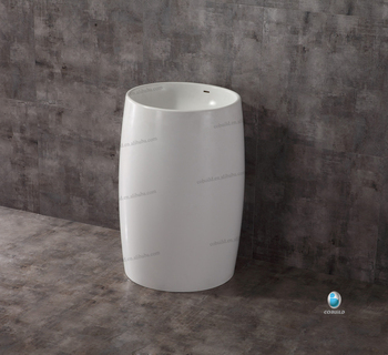Wholesale bathroom furniture pedestal wash basin/ cylinder bathroom solid surface sink stand