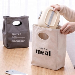 Nice design portable durable canvas lunch food delivery bag insulated
