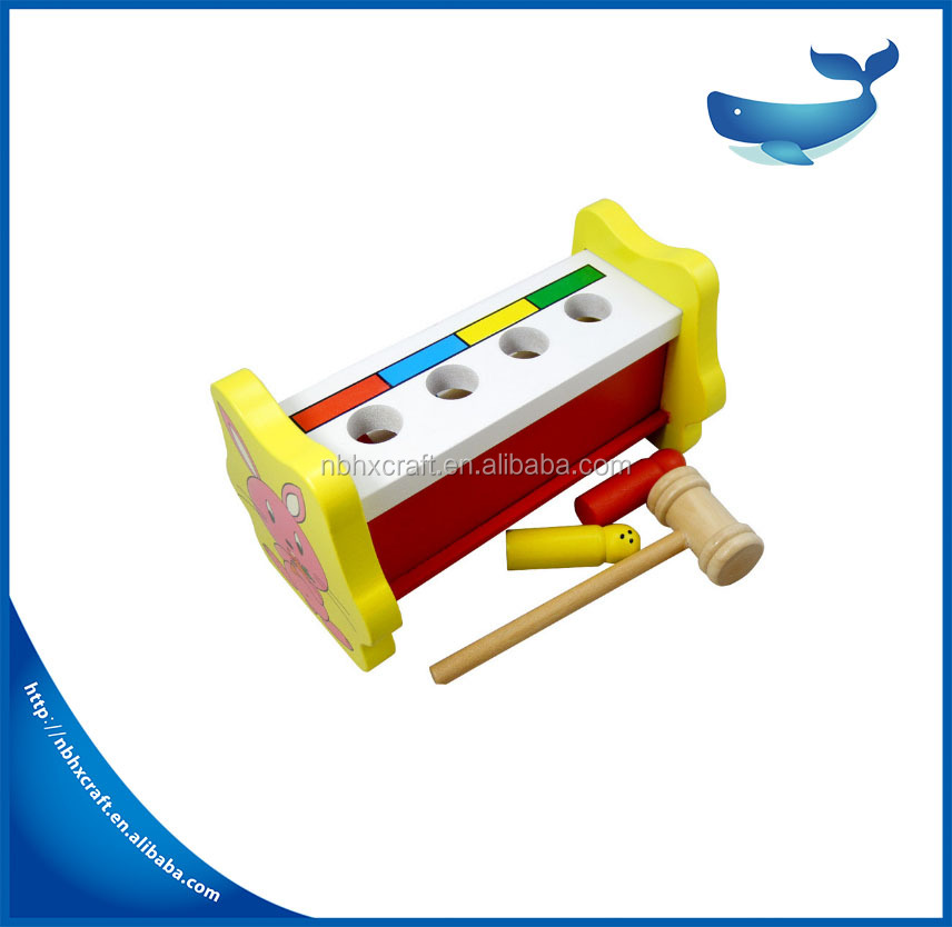2017 Baby wooden Knock down loading qintai building blocks educational toys Hot Sell Knock Tables Pounding Bench Toy, Diy Wooden