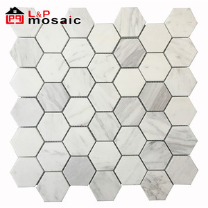 2018 USA Hot Sale Oriental White Marble Hexagon Mosaic Tiles Backsplash for kitchen