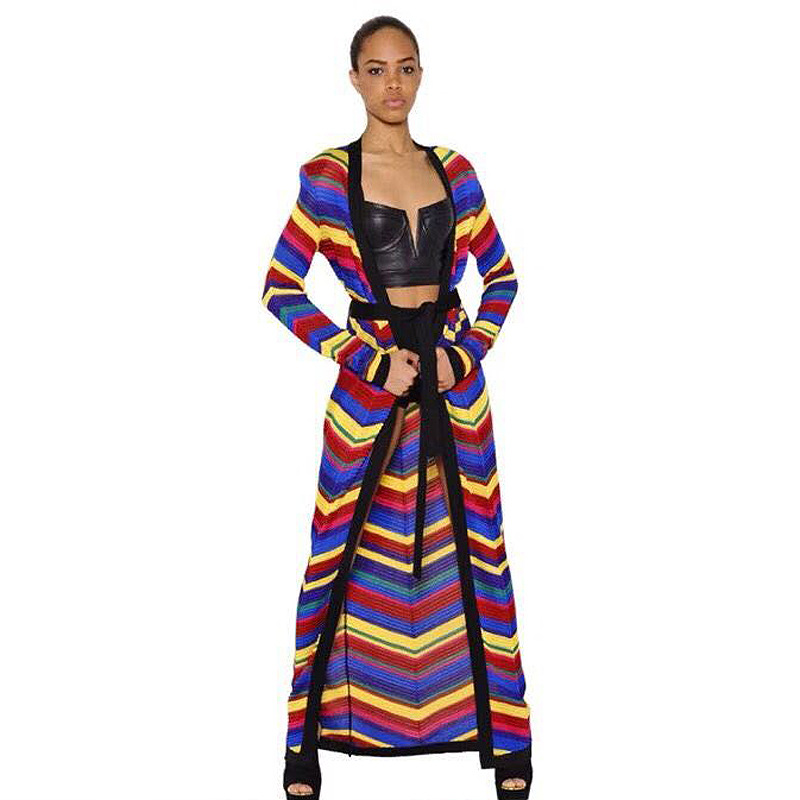 A2358 Long Sleeve 2019 Maxi Knit Cardigan Coat Rainbow Stripe Multi Color Sweater Coat With belt