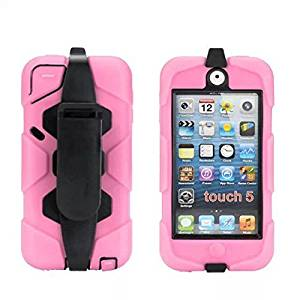 iPod Touch 5 Case, iPod Touch 6 Case, GreenElec with Soft Hybrid Armor Defender Heavy Duty Shock-Proof Belt Clip Case Cover for Apple iPod Touch 5 6th Generation_2015 Released (Pink)