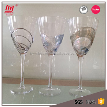 Wholesale Handmade customized Wine Glass silver rim drinking glasses