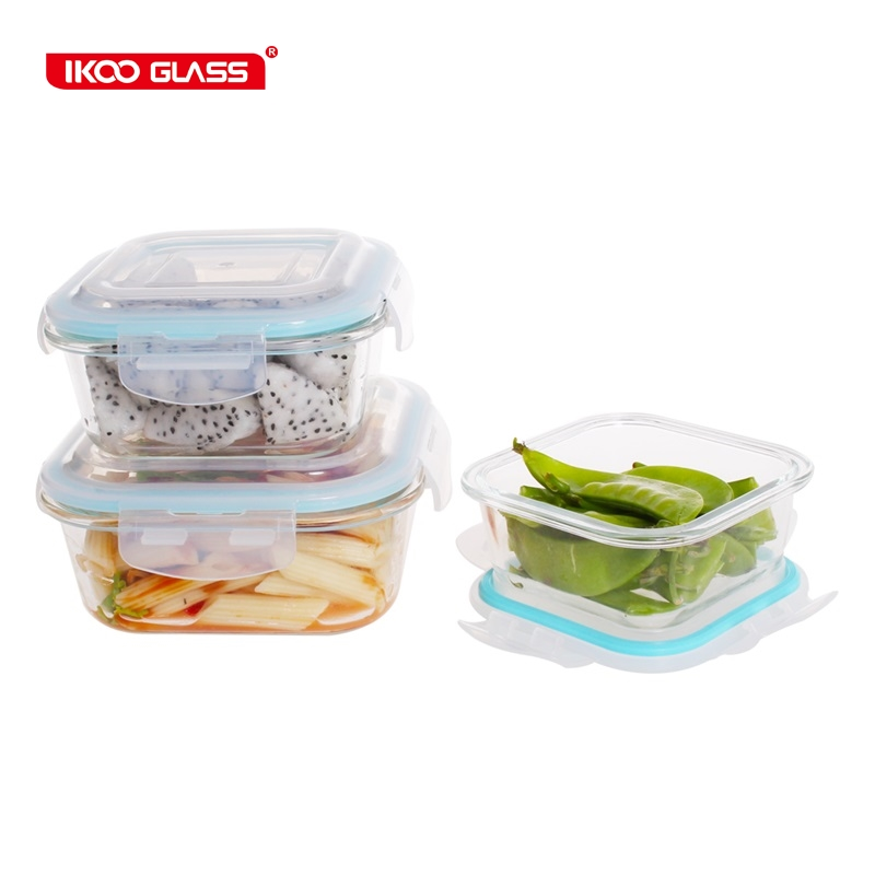 Food Storage Containers Square Glass Dish Set of 3 Glass Storage