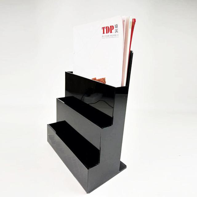 Office 3 Pockets Black Acrylic Magazine Holder, Office Desk Brochure  Organizer , Acrylic Magazine Holder