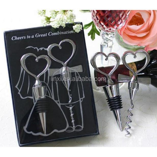 Heart shaped love couple bottle opener and stopper set <strong>wedding</strong> favors gifts for guests