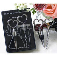 Heart shaped love couple bottle opener and stopper set wedding favors gifts for guests