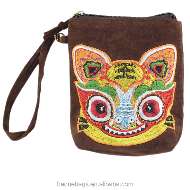 Purse bag factory wholesale tiger pattern embroidery casual ladies wallet and purse