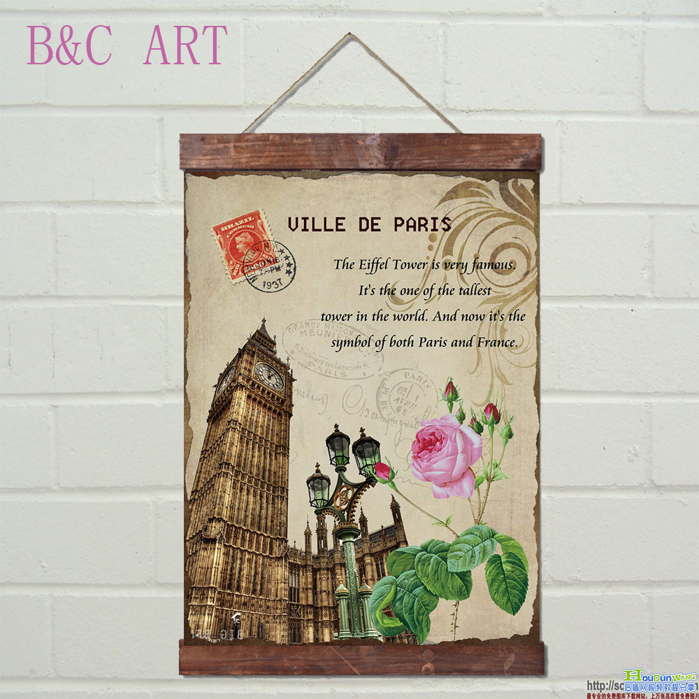 Beautiful paris city scenery printing scroll painting for home decoration