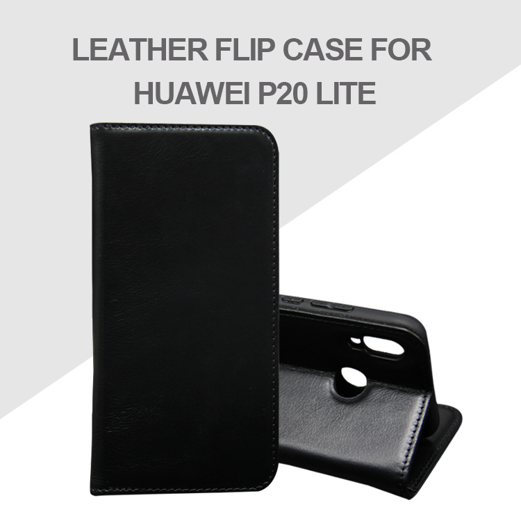 Factory selling high quality new products design new luxury genuine leather folio case for Huawei P20 Lite