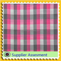 For Shirt Pink Color 100% Cotton Yarn Dyed Check Poplin Fabric
