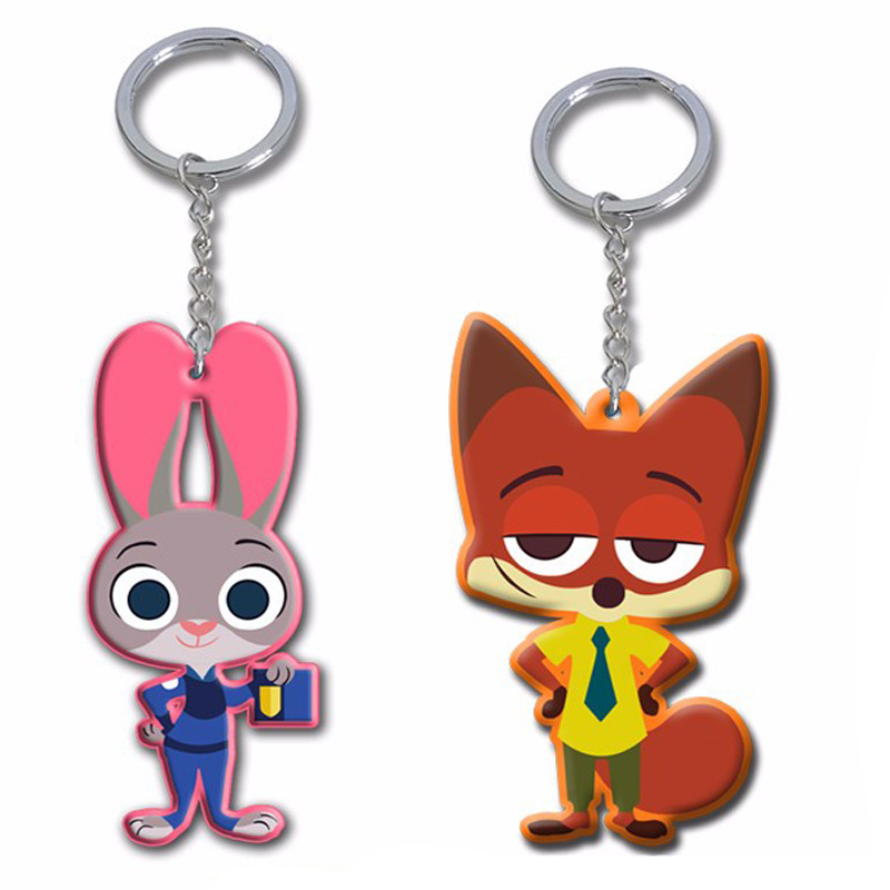Zootopia figures keychain toys set 2016 New Cartoon Animal police officer Rabbit Judy Hopps Nick Fox