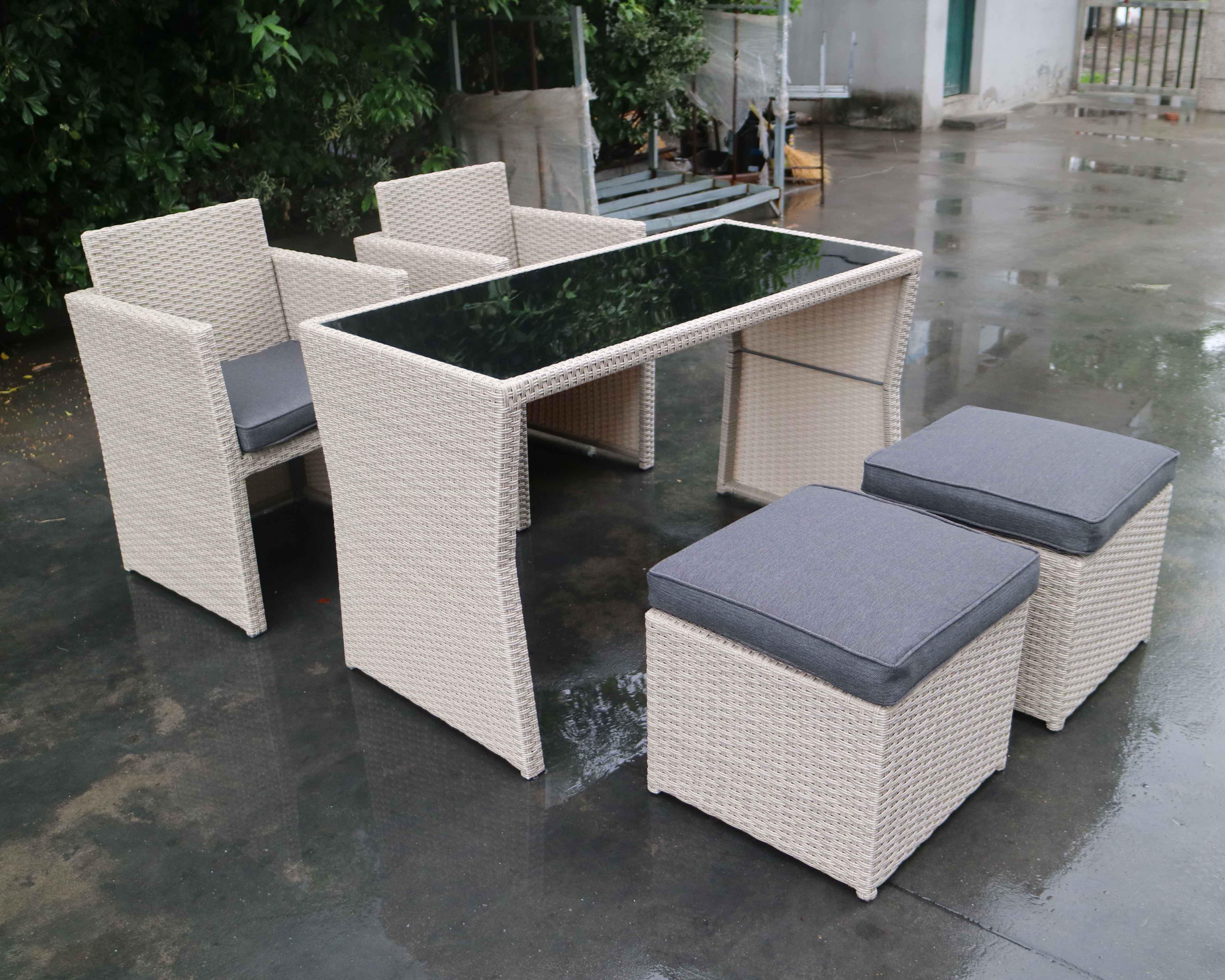 3 adet Çelik çerçeve Bistro Rattan Sandalye Ve Masa Küpü Seti için Veranda Balkon ve Pub