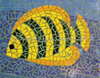 Piazza ceramica mosaici di piastrelle oro pesce pattern piastrella