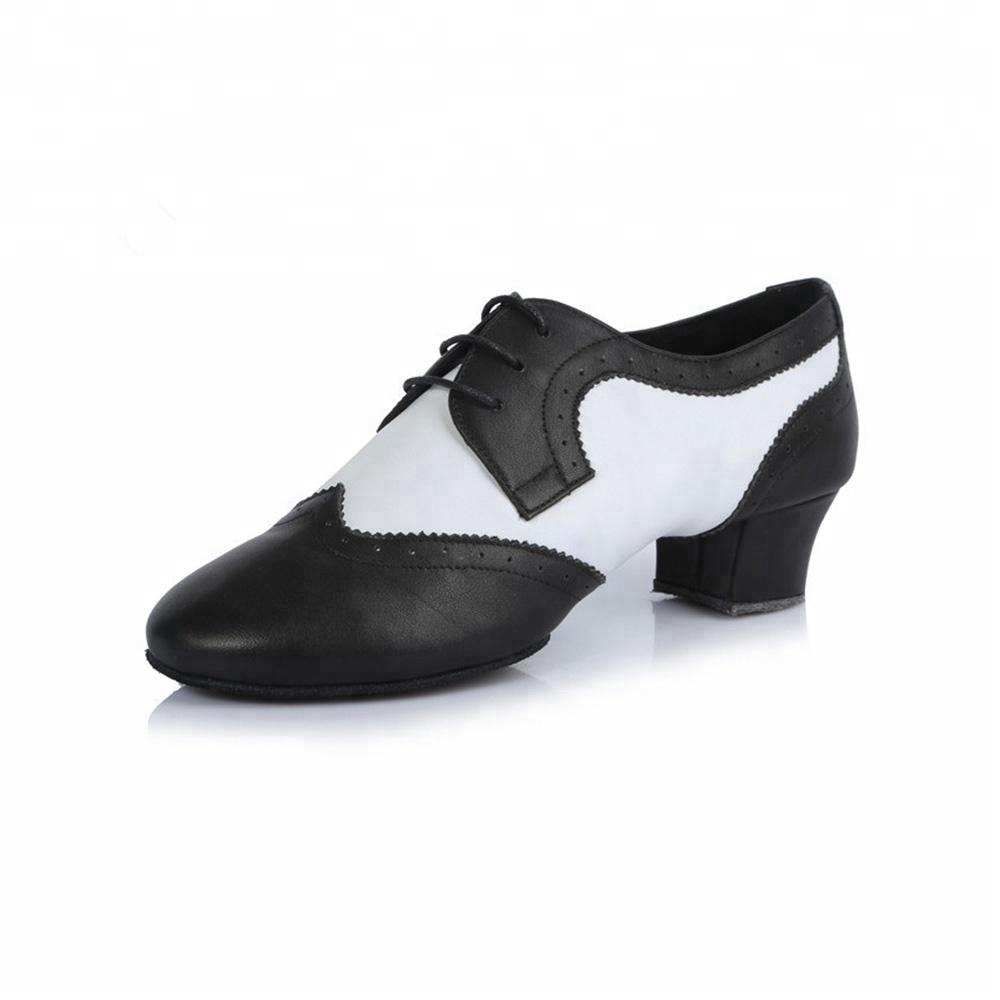 Wholesale Black and Cowhide Men Dance Ballroom Shoes Dance White Shoes Men Latin aTrBa