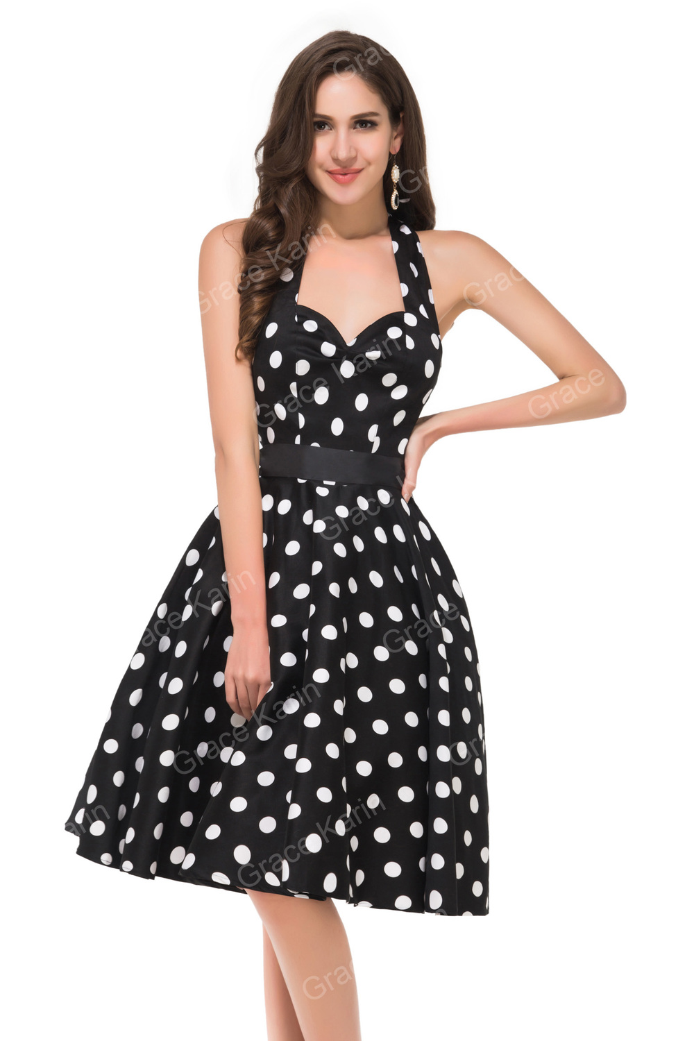 Grace Karin Retro Style Cotton 50s Polka Dots Dress 1950s