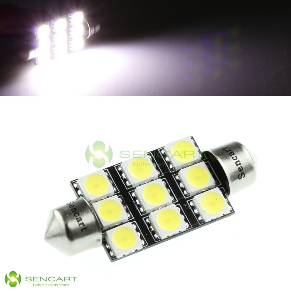 "SV8.5-8 1.72"" 41mm 42mm 9-SMD 5060 LED 4.5W White lights 578 211-2 Festoon Dome Map bulb License light Reading lights"