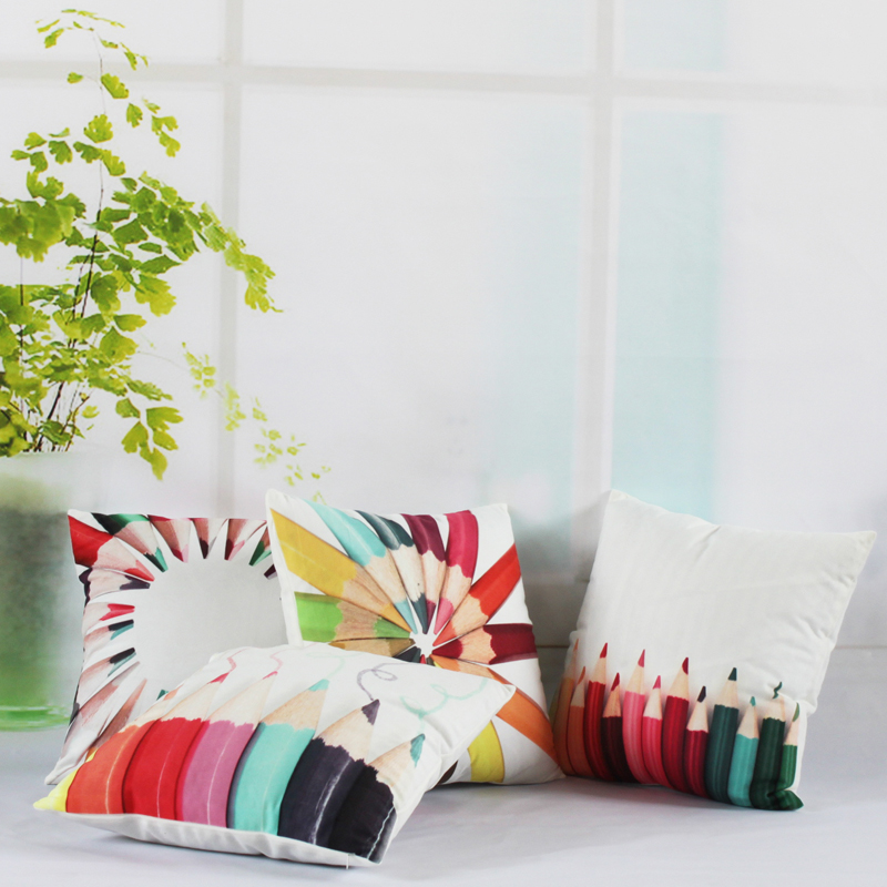 45*45cm Fashion Cute Color Pencil Flannel Pillow Decoration Cushion Ccover Sofa Cushion/Minimalist Personality/ Home Textile