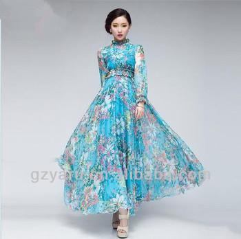 d54efece06ba Long Sleeve Corset Long Maxi Dresses / Fashion Design Floral Print Maxi  Dress