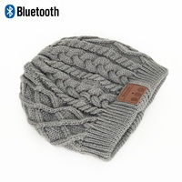 winter warm knitted wireless bluetooth beanie hat with headphone