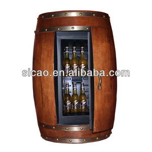 Round Shape Commercial Bar Fridge Refrigerated Solid Wood Bar Furniture Customized Color