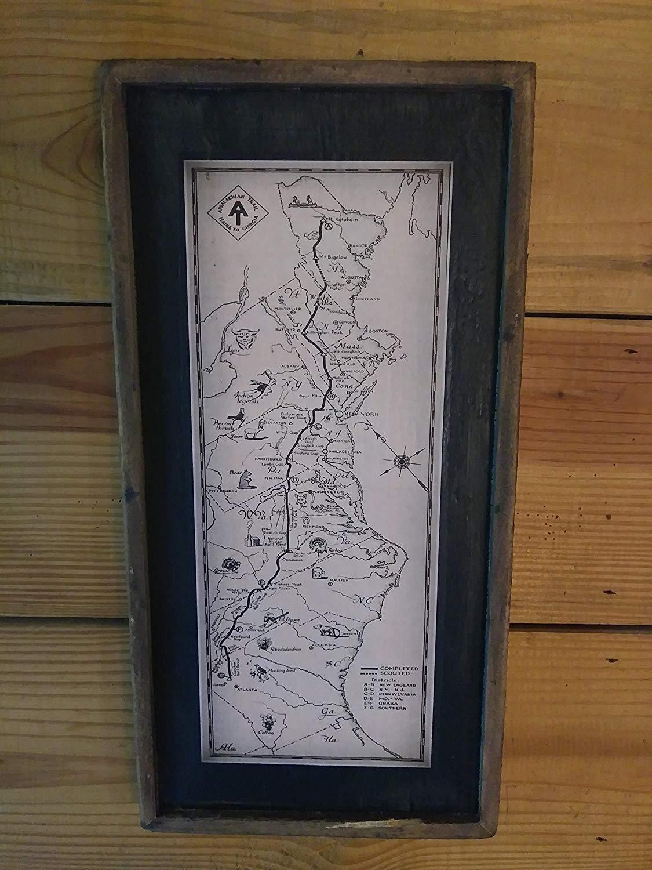 Vintage Appalachian Trail Print on Reclaimed Wood Framed Sign (long)