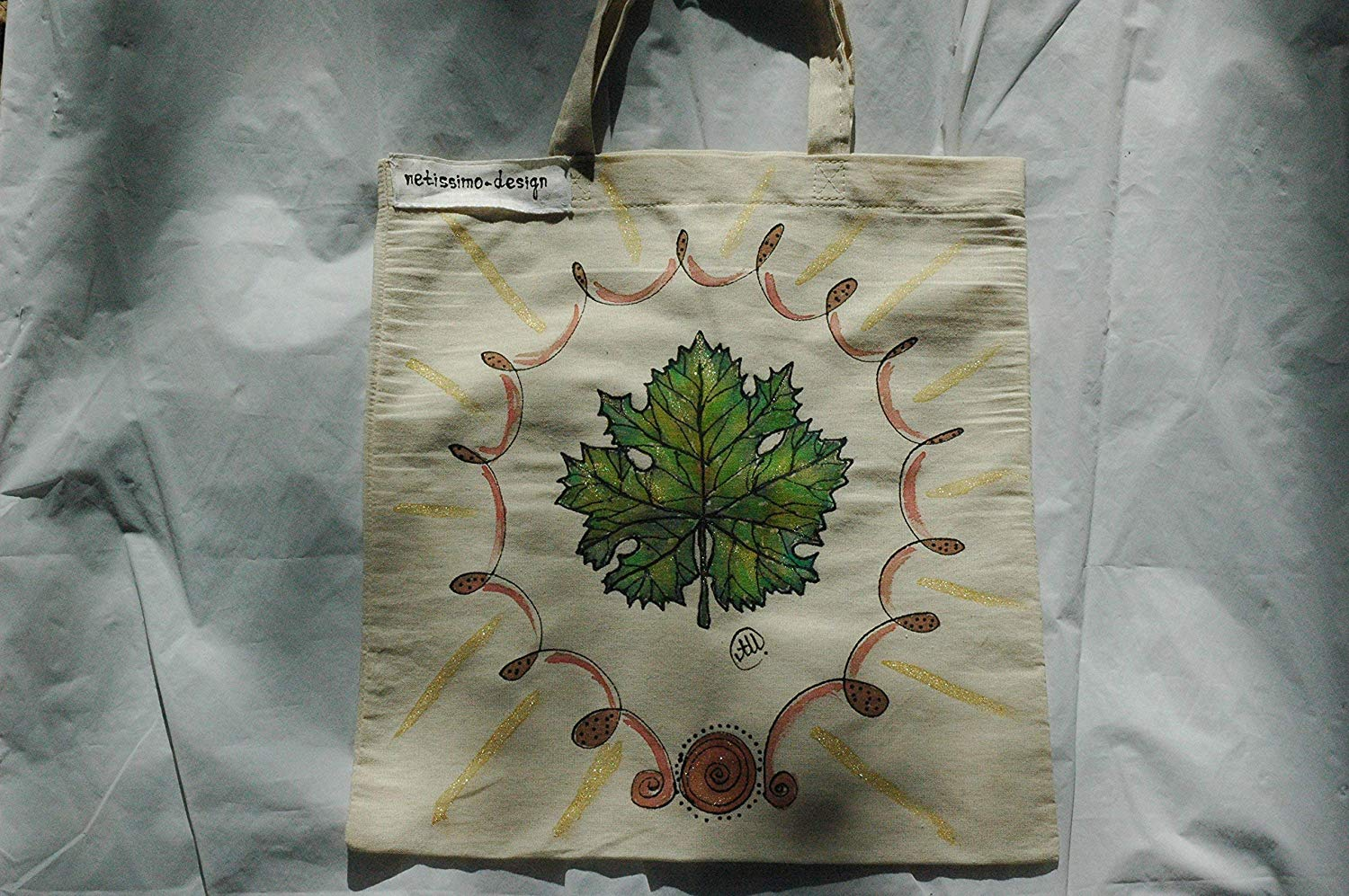 Sale!!!15% Off,Hand Painted Vine Tote Bag,From Weekend beach bag to Everyday Grocery Shopper,Leaf hand painted,Green Leaf Tote,Nature Lover Gift,Gift Bag.