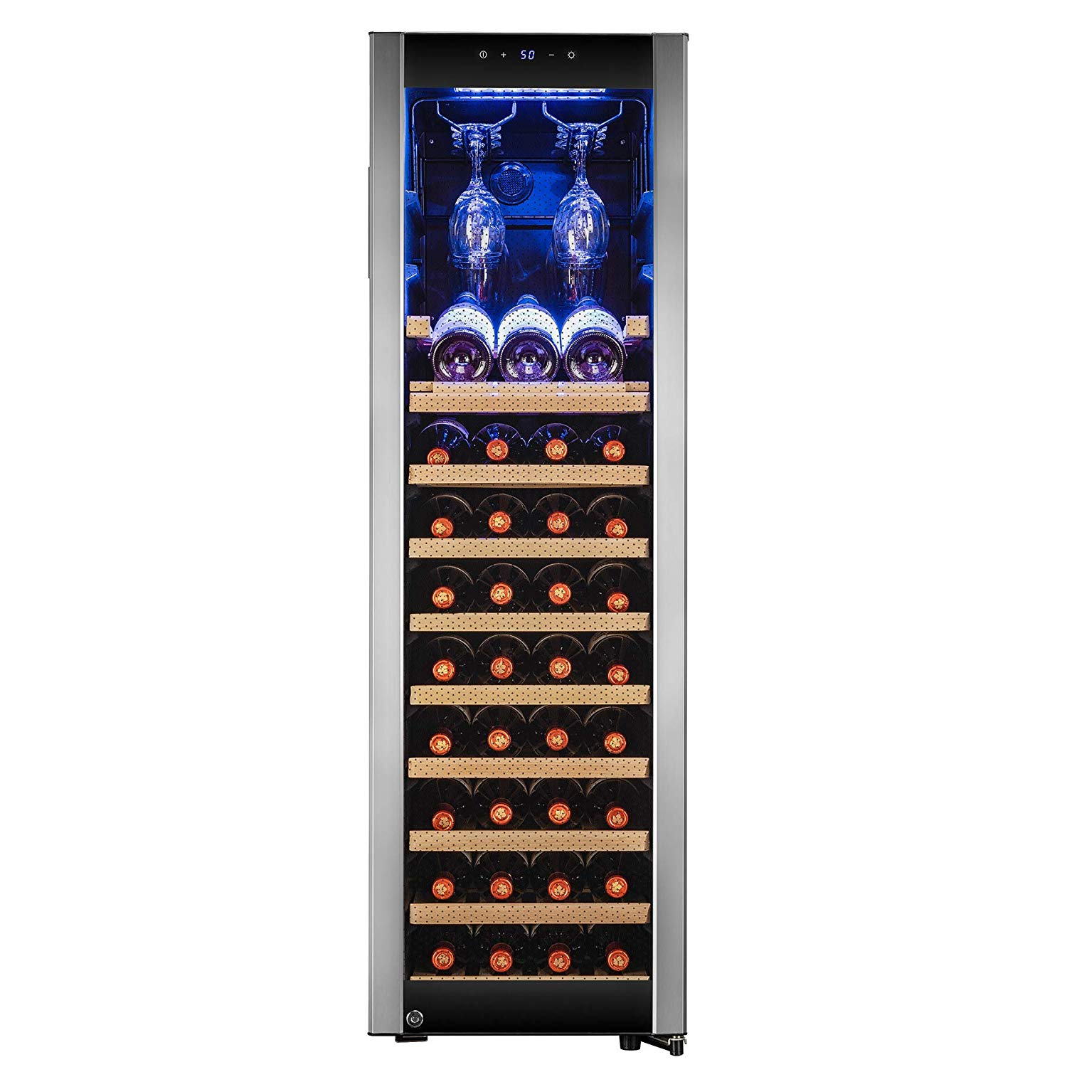 "AKDY 50"" 46-Bottle Touch Panel Single Zone Chrome Wire Wood Shelves Freestanding Compressor Key Lock Black Silver Wine Cooler"