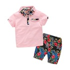 Fashion flowers baby short children polo shirts boys clothing sets for summer