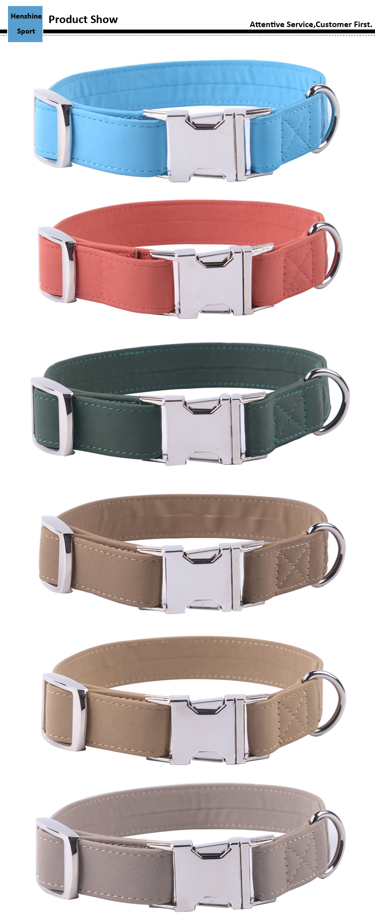 Pet Accessories Leather Dog Collar PU Leather Collar for Dog, Cheap Leather Dog Collar