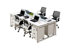 Stylish Steel Frame MFC/MDF Computer Office Desk for 4 Person