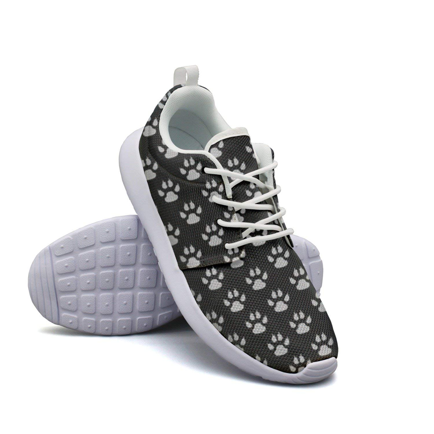 Black And Gray Animal Paw Prints Pattern Wallpaper Women's Camping Running Shoes Hunting Cute
