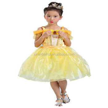 Yellow christmas Princess lace Dress for 8 years kids Sling Flower Girl Dress Fluffy party dress