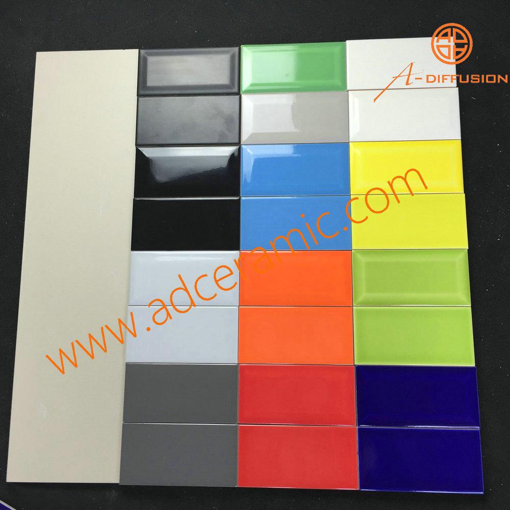 Verde claro biselado esmaltado ba o azulejo de cer mica - Azulejos biselados 10x20 ...
