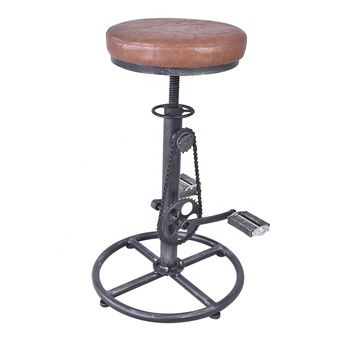 industrial bicycle stool ,machine age modern design Coffee bar shop metal bike vintage leather stool chairs