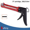 "9"" Cartridge 300/310ml Ratchet Rod Silicone Gun, 7:1 Thrust Ratio"