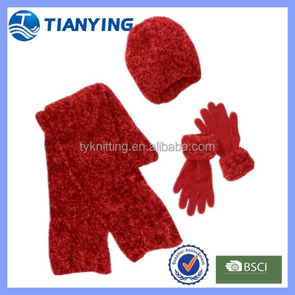 Großhandel Damen Winter Roten Schal Mütze Handschuhe Set Buy Winter Roten Schal Mütze Handschuhe Set,Chenille Rot Schal Handschuhe Set,Frauen Rote