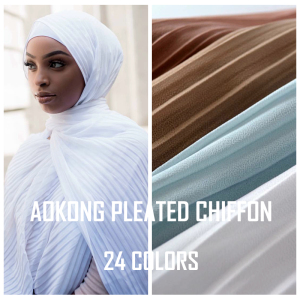 24 colors high quality women islam malaysia thick muslim solid plain bubble pleated chiffon hijab scarf