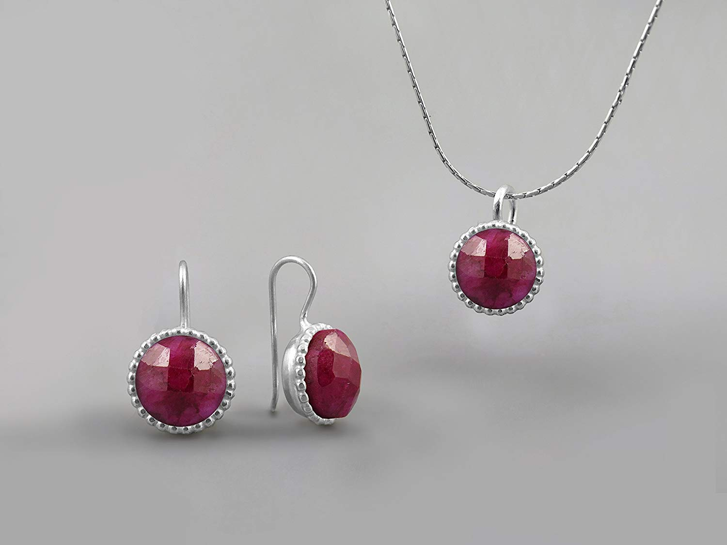 90b5b6f3c Get Quotations · 10 mm Red Ruby Gemstone Round Jewelry Set For Women .925  Sterling Silver July Birthstone