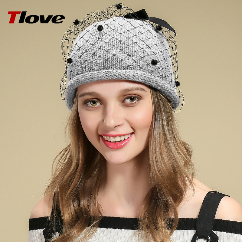 Tlove Winter Lace Mesh Grenadine Covered Woolen Yarn Knitteed Beanie Hat for Girls