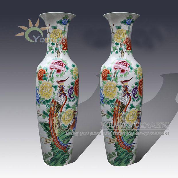 Oriental Hand Painted Famille Rose Porcelain Large Flower Vases For