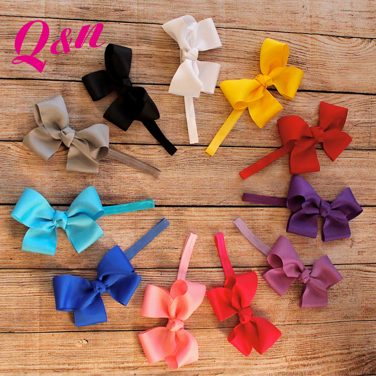 Kid hair accessory headwear mix color bow knot elastic baby hair bands bow headband